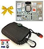 Paracord Survival Grenade Tin And Emergency Bracelet (55pc)--Backpacking Hiking Camping Disaster Preppers Kit--65 Feet--Mom Feel Safe! Your Kids Can Get Fire, Food & Shelter When Lost.