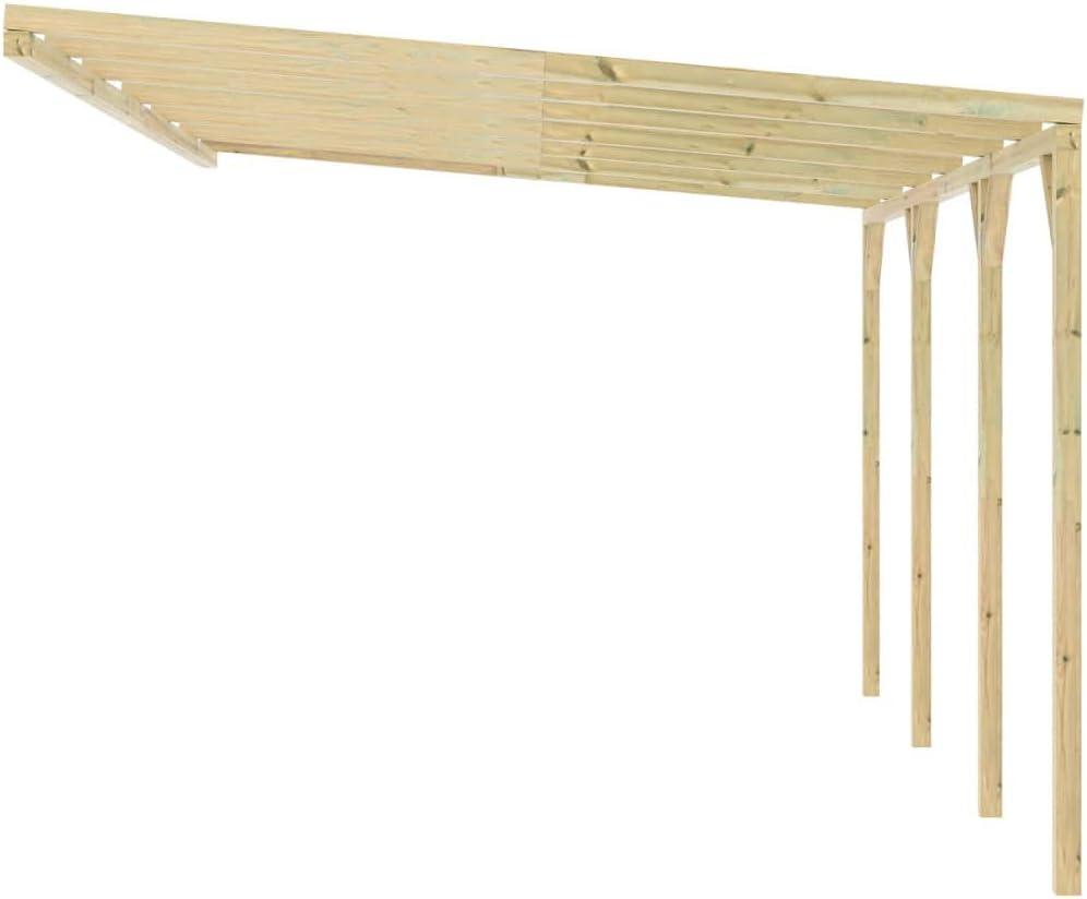 vidaXL Madera Pérgola Cobertizo Arco Entrada Cenador de Jardín Patio Parque Exterior Terraza Hogar Decorativa Porche Comedor o Techado para Coche