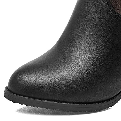 AmoonyFashion Womens Low-Top Solid Zipper Pointed Closed Toe High-Heels Boots, Black, 41