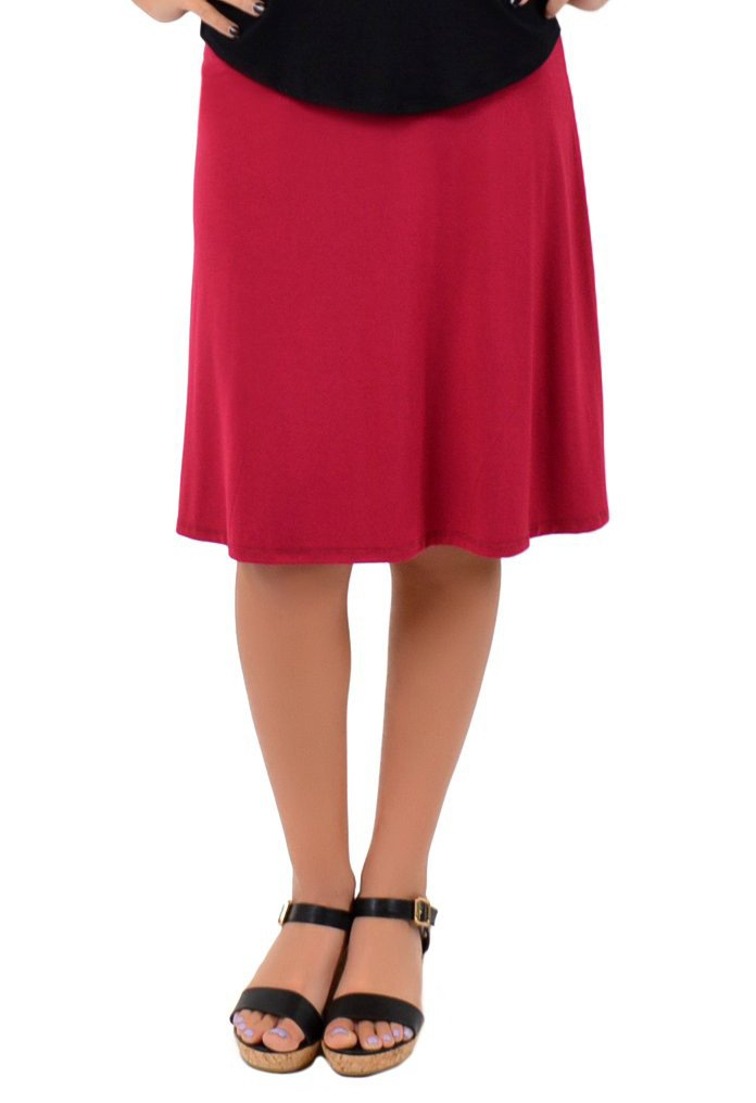 Stretch is Comfort Women's A-Line Skirt Burgundy X-Large