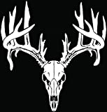 Deer Buck Antlers Skull Hunting Car Truck Window Bumper Vinyl Graphic Decal Sticker- (6 inch) / (15 cm) Tall GLOSS WHITE Color