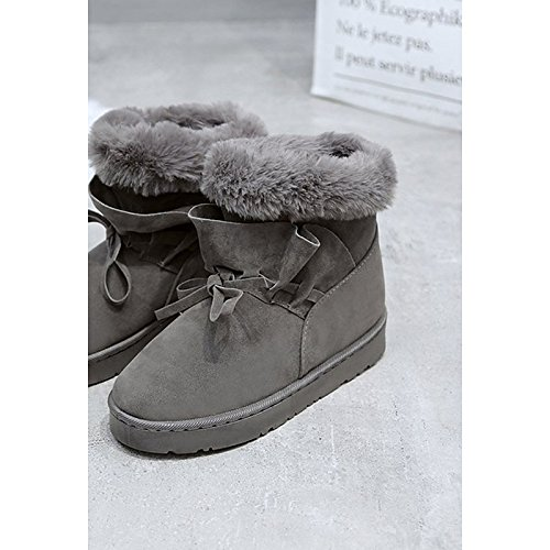 Shoes Mid Comfort Boots Calf Lining Boots Flat for HSXZ Nubuck ZHZNVX Fluff Boots Snow Fall leather Winter PU Heel Casual Black Women's Bowknot Round Toe EUqppvOf
