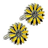 Engraved Sun Flower Enamel Cufflinks Dark & Light Yellow Bullet Cufflinks Positive Fashion Cufflinks