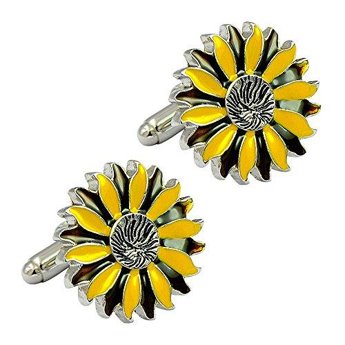 (Engraved Sun Flower Enamel Cufflinks Dark & Light Yellow Bullet Cufflinks Positive Fashion Cufflinks)