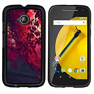 LECELL--Funda protectora / Cubierta / Piel For Motorola Moto E2 E2nd Gen -- Red Leaf Forrest --