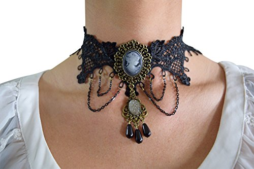 Vintage Victorian Gothic Dark Side Love Black Lace Choker Necklace (Lace Choker-Cameo)