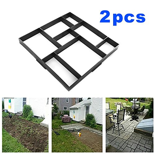 JAXPETY 2PCS 20'' x 20'' Path mate Stone Mold Paving Pavement Concrete Mold Stepping Stone Paver Walk Maker (Rectangular patterns) Durable & Easy to Use (Patio Stones Pavers)