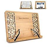 Mein Geschenk Bamboo Cookbook Stand, Adjustable Reading Rest Cookbook Cook Recipe Kitchen Book Holder Stands Bookrest, with Adjustable Angle, Elegant Hollow Design