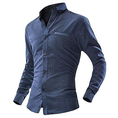 Cheap Papijam Mens Classic Polka Dot Button Down Regular Long Sleeve Shirts supplier