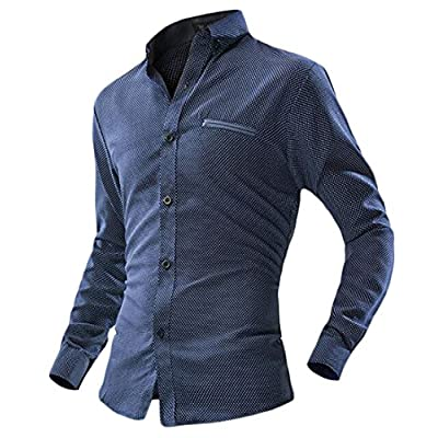 Cheap Papijam Mens Classic Polka Dot Button Down Regular Long Sleeve Shirts supplier LKSJxAiQ