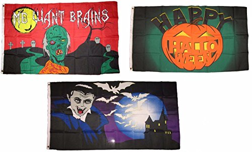 ALBATROS 3 ft x 5 ft Happy Halloween 3 Pack Flag Set #168 Combo Banner Grommets for Home and Parades, Official Party, All Weather Indoors -