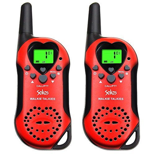 Walkie Talkies for Kids, 22 Channel Child Walkie Talkies 2 Way Radio 3 Miles (Up to 5Miles) FRS Handheld Walkie Talkie for Kids (Pair) (Red)