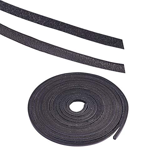 - PandaHall Elite 1 Strand 3mm Flat Genuine Cowhide Leather Lace Cord Braiding String Leather Strips 2.2 Yard for Jewelry Making Black