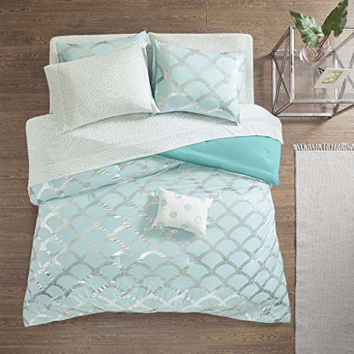 (Intelligent Design Lorna Metallic Print Mermid Scale Scallop Polka Dots Ultrasoft Microfiber Comforter and Sheet Set Bag Bedding, Twin Size, Aqua 6 Piece)