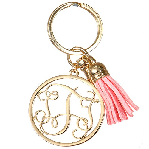 Crown Monogrammed Personalized Alphabet Initial Letter Keychain, Key Ring, Bag Charm w/ Tassel