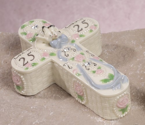 25th Anniversary Collectible Keepsake Cross Shaped Porcelain Jewlery Box by Banberry Designs