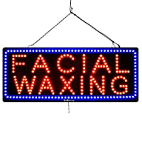 """""""Facial WAXING"""" Sign for Business LED Bulbs, Can Be Seen Through Tinted Windows. Extra Large 32 inches Wide (#2713)"""