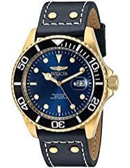 Invicta Mens Pro Diver Quartz Stainless Steel and Leather Watch, Color Blue (Model: 22076)