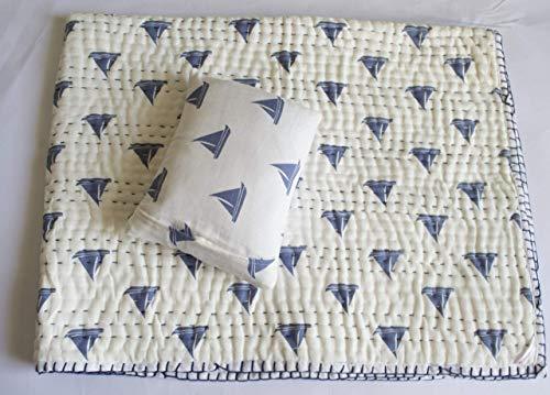 Organic GOTS Certified Muslin Cotton Kids/Toddler/Children Quilt with Pillow - Sail Ahoy