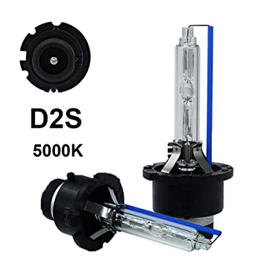 Dinghang D2S 5000K 35W Xenon HID Headlight Replacement Bulbs, High And Low Beam Hid Headlights (2pcs): Automotive