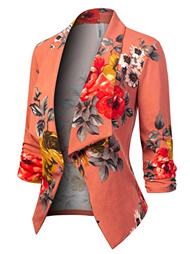 MixMatchy Women's [Made in USA] Classic 3/4 Gathered Sleeve Open Front Blazer Jacket (S-3XL) Flower Print #11 3XL ()