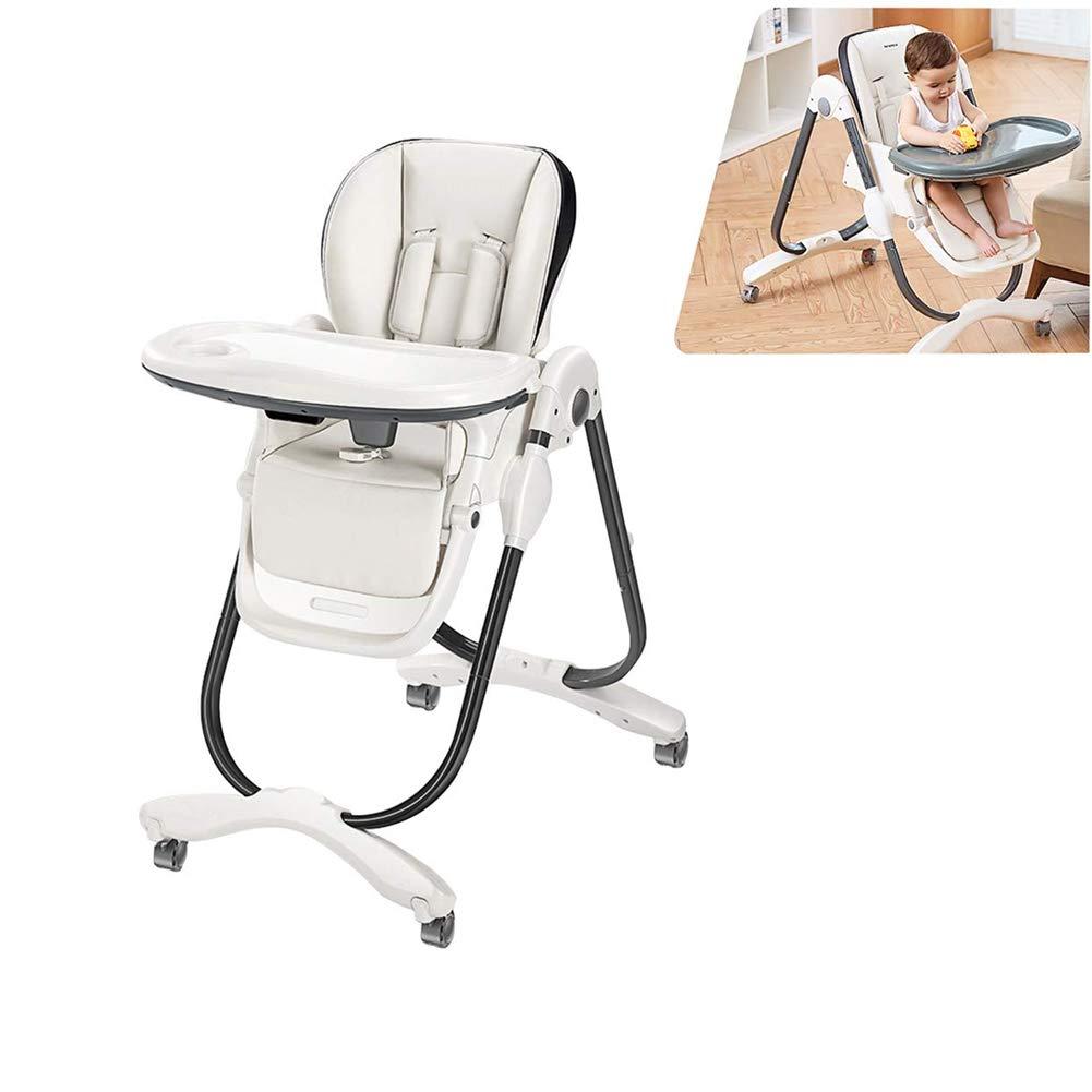 ロック可能な車輪が付いている赤ん坊の調節可能な高い椅子のfoldable子供の高い椅子の調節可能なリクライニングの赤ん坊のダイニングチェア   B07RVDSDS4