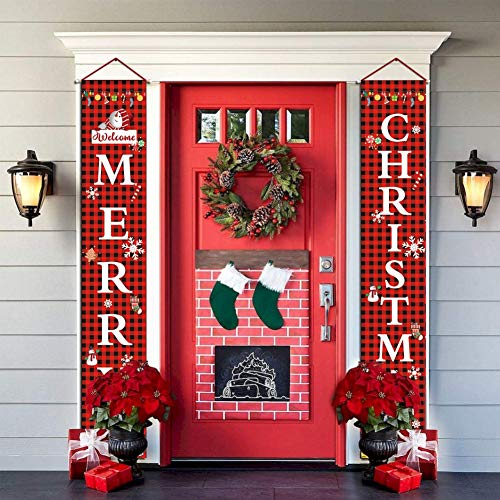 Gyrategirl Christmas Porch Sign, Happy New Years/Welcome Merry Christmas & Joy Holiday Decorative Banner, Indoor Outdoor Xmas Home Decor Hanging Banners Sign (#2-Welcome Merry Christmas)