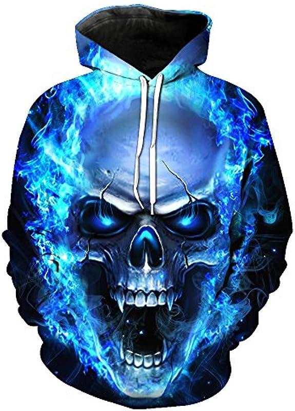 Crazycatz klejąca @ męska 3d drukowanie niebieskiej ogień czaszka bluza z kapturem na bok jazda: Odzież