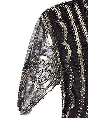 Vijiv Flapper Dress 1920s Gatsby Art Deco Sequin Embellished Dress With Sleeve