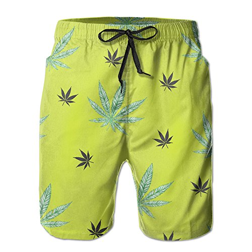 Fluorescent Seamless Cannabis Print Elastic Waist Men Boardshorts Quickly Drying Swim Trunks Board Shorts With Pocket XL