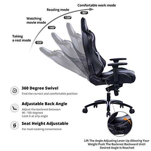 KILLABEE Big and Tall Gaming Chair with Metal Base - Ergonomic Leather Racing Computer Chair High-Back Office Desk Chair with Adjustable Memory Foam Lumbar Support and Headrest, Black by KILLABEE (Image #1)