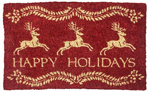 WINTER CHRISTMAS WILLIAMSBURG REINDEER Dash Away All Handwoven Coconut Fiber Doormat