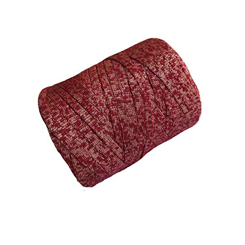 Clisil Crochet Handbag Yarn Bulky Yarn Knit Red Sparkle Tape Yarn DIY T Shirt Yarn Basket Purse 400g