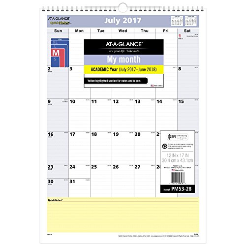 Acco AT-A-GLANCE Academic Wall Calendar, QuickNotes, July...