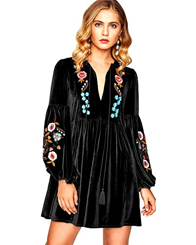 Aox Women#039s Vintage Floral Embroidered A line Velvet Short Party Dress Plus Size