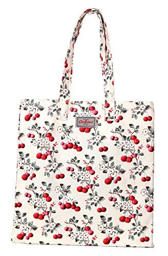 Cath Kidston bomull bok bärkasse shoppingväska körsbär krus i päron vit