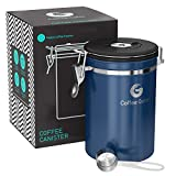 Coffee Gator Stainless Steel Container - Fresher Beans and Grounds for Longer - Canister with Date Tracker, CO2-Release Valve and Measuring Scoop - Large - Blue