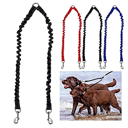 MAXGOODS Double Dog Leash Durable Training Dog Lead for Small to Medium Dogs(Black)