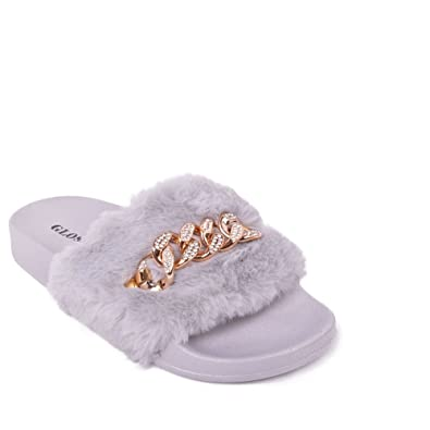 94296a99d7b1 Womens Fluffy Faux Fur Trim Chain Sliders Comfy Slip On Casual Flip Flop  Rubber Flats Mules Size  Amazon.co.uk  Shoes   Bags