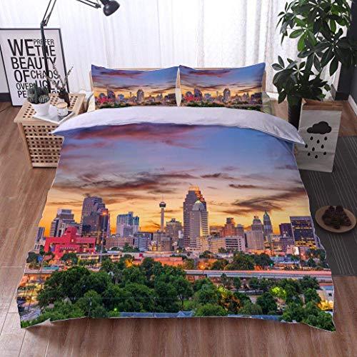 VROSELV-HOME Style 3D Digital Print Bedding Sets,San Antonio Texas USA,Soft,Breathable,Hypoallergenic,100% Cotton Beding Linens for Kids Children
