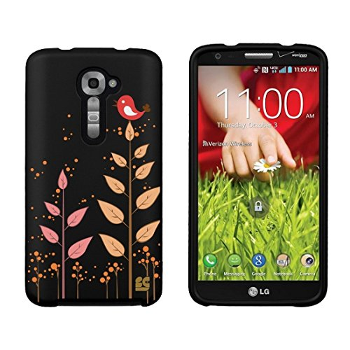 Slim Light Weight 2 Piece Snap On Non-Slip Matte Hard Design Rubber Coated Rubberized Case with Premium Protection for LG G2 VS980 (Verizon Version Only) - Bird - Black (Best Case Lg G2 Verizon)