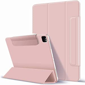 """KenKe for iPad Pro 11"""" 2020 & 2018 case Rebound Magnetic Trifold Smart Case Convenient Magnetic Attachment [Supports Pencil Wireless Charging], Auto Sleep/Wake iPad Pro 11 inch 2020 Cover-Pink"""