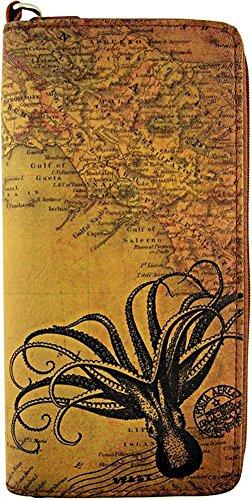 Lavishy Vegan Leather Vintage Inspired Octopus Wristlet Wallet (Octopus)