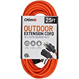 Otimo 25 ft 16/3 Outdoor Medium Duty Extension Cord - 3 Prong Extension Cord, Orange
