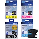 Brother High Yield Color Ink Cartridge, XL, Black/Cyan/Magenta/Yellow, Pack of 4 (LC103)