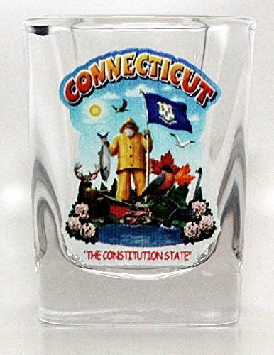 (Connecticut State Montage Square Shot Glass)