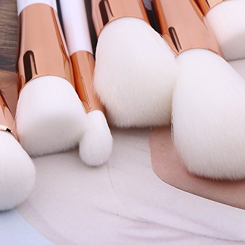 Summifit 15 Pcs Professional Makeup Brushes Set Powder Foundation Contour Blending Eyeshadow Eyeliner Bronzer Lip Brush Kit (White Rose Gold)