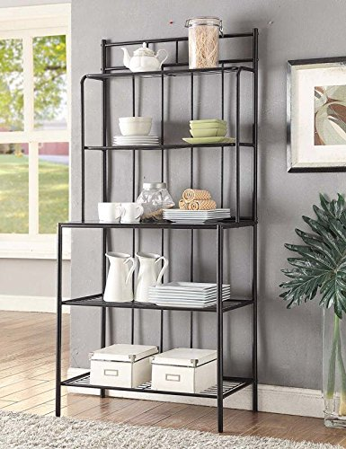 Amazon.com - 5-tier Black Metal Tempered Glass Shelves Kitchen ...