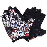 Qchomee Girls Boys Biking Gloves Half Finger Sport GYM Fitness Gloves MTB RacingMitts Non-slip Gel Pad Shockproof Short Finger Summer Gloves Mountain Road Bike Riding RunningGloves