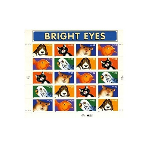 - Bright Eyes Pets, Full Sheet of 20 x 32-Cent Postage Stamps, USA 1998, Scott 3230-34